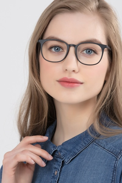 Cheer Matte Black Plastic Eyeglass Frames for Women from EyeBuyDirect, Front View
