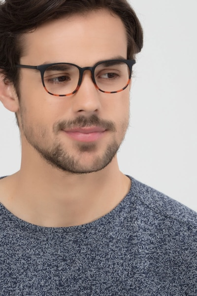 Cheer Black Tortoise Plastic Eyeglass Frames for Men from EyeBuyDirect, Front View