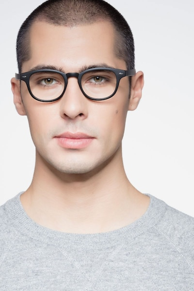 Atomic Matte Black Plastic Eyeglass Frames for Men from EyeBuyDirect, Front View