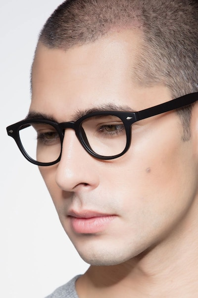 Atomic Matte Black Plastic Eyeglass Frames for Men from EyeBuyDirect