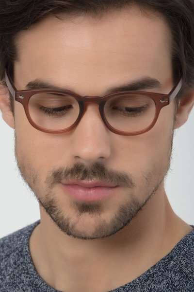 Atomic Matte Brown Plastic Eyeglass Frames for Men from EyeBuyDirect