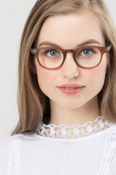 Atomic Matte Brown Plastic Eyeglass Frames for Women from EyeBuyDirect