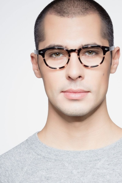 Atomic Gray Floral Plastic Eyeglass Frames for Men from EyeBuyDirect, Front View