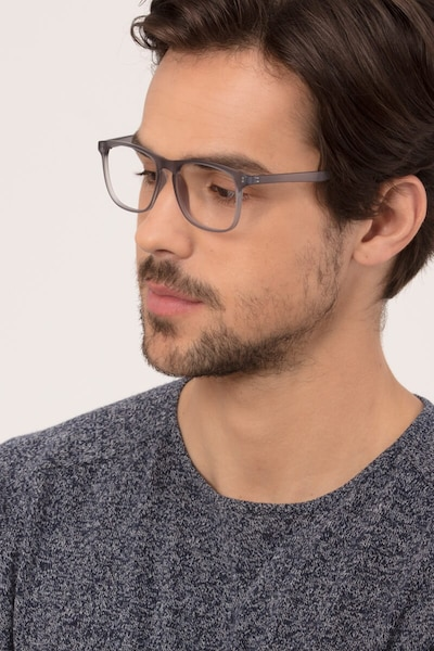 Ghent Matte Gray Plastic Eyeglass Frames for Men from EyeBuyDirect, Front View
