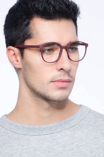 Days Matte Red Plastic Eyeglass Frames for Men from EyeBuyDirect, Front View