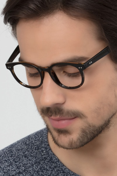 Achiever Brown Floral Plastic Eyeglass Frames for Men from EyeBuyDirect