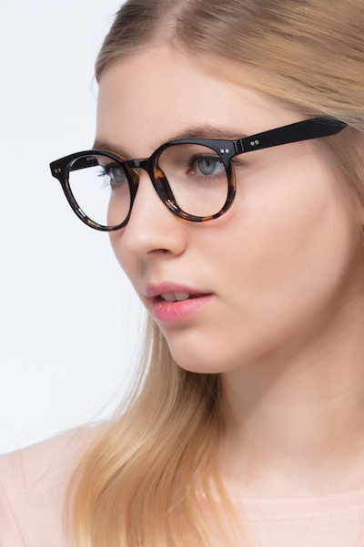 Achiever Brown Floral Plastic Eyeglass Frames for Women from EyeBuyDirect, Front View