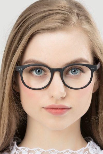 Achiever Matte Black Plastic Eyeglass Frames for Women from EyeBuyDirect