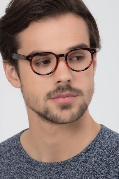 Achiever Brown Plastic Eyeglass Frames for Men from EyeBuyDirect, Front View
