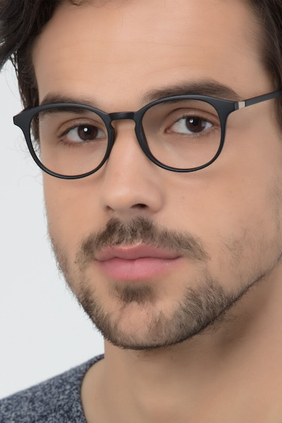 Brace Matte Black Plastic Eyeglass Frames for Men from EyeBuyDirect