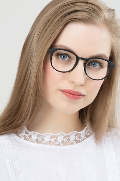Brace Matte Black Plastic Eyeglass Frames for Women from EyeBuyDirect, Front View