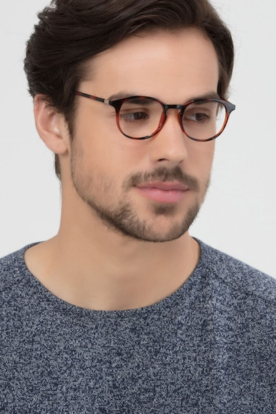 Brace Tortoise Plastic Eyeglass Frames for Men from EyeBuyDirect, Front View