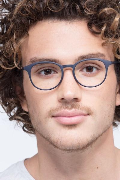 Brace Matte Navy Plastic Eyeglass Frames for Men from EyeBuyDirect