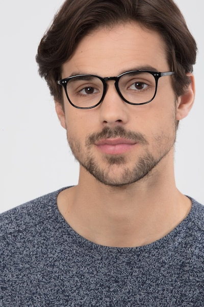 Record Black Plastic Eyeglass Frames for Men from EyeBuyDirect, Front View