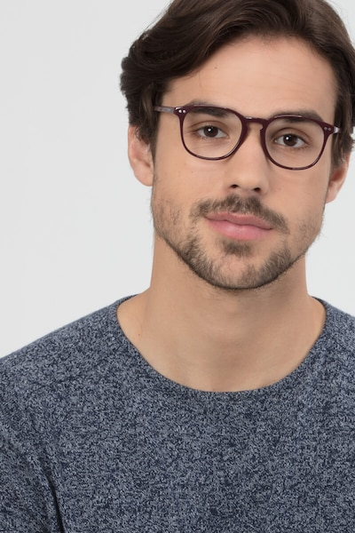 Record Dark Red Plastic Eyeglass Frames for Men from EyeBuyDirect, Front View