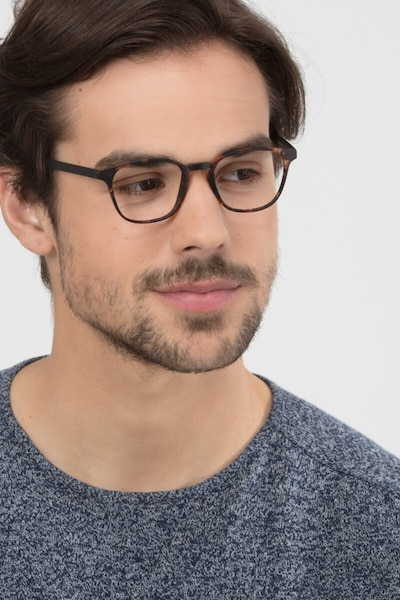 Saunter Swirled Amber Plastic Eyeglass Frames for Men from EyeBuyDirect, Front View