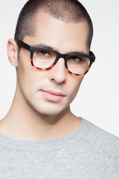 Project Black Tortoise Plastic Eyeglass Frames for Men from EyeBuyDirect, Front View