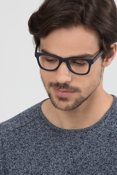 Project Matte Navy Plastic Eyeglass Frames for Men from EyeBuyDirect, Front View