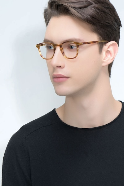 Symmetry Striped Caramel Acetate Eyeglass Frames for Men from EyeBuyDirect, Front View