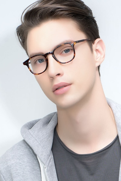 Symmetry Tortoise Acetate Eyeglass Frames for Men from EyeBuyDirect