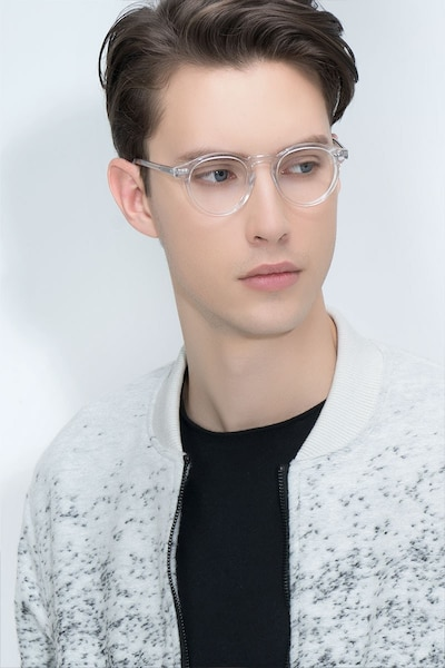 Theory Clear Acetate Eyeglass Frames for Men from EyeBuyDirect, Front View
