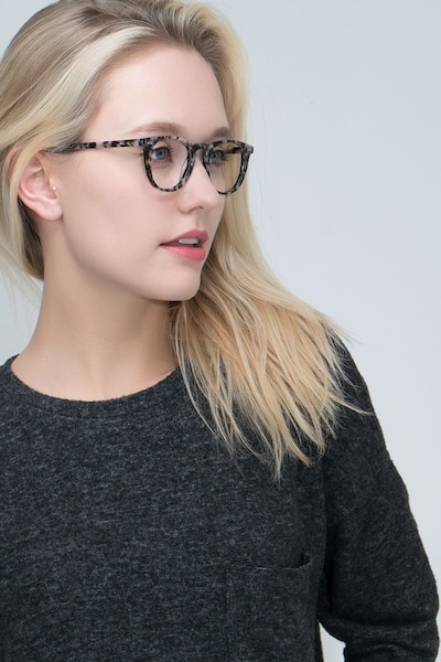 Aurora Flecked Ivory Acetate Eyeglass Frames for Women from EyeBuyDirect, Front View