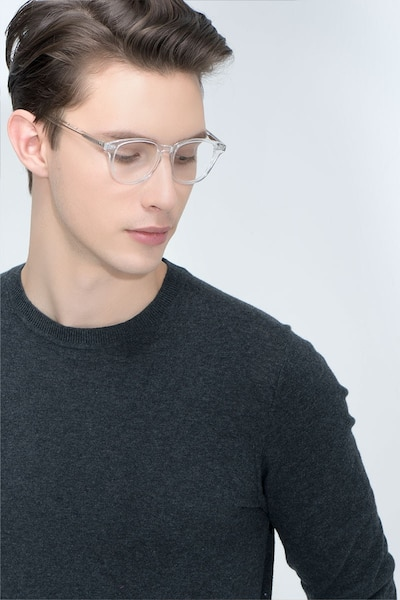 Lucid Translucent Acetate Eyeglass Frames for Men from EyeBuyDirect, Front View