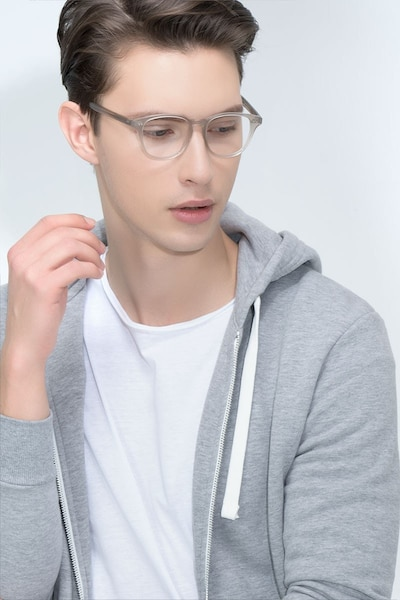 Lucid Clear Gray Acetate Eyeglass Frames for Men from EyeBuyDirect, Front View