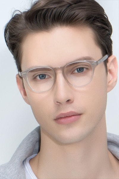 Lucid Clear Gray Acetate Eyeglass Frames for Men from EyeBuyDirect