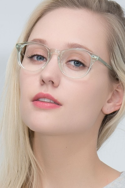 Aura Clear Jade Acetate Eyeglass Frames for Women from EyeBuyDirect