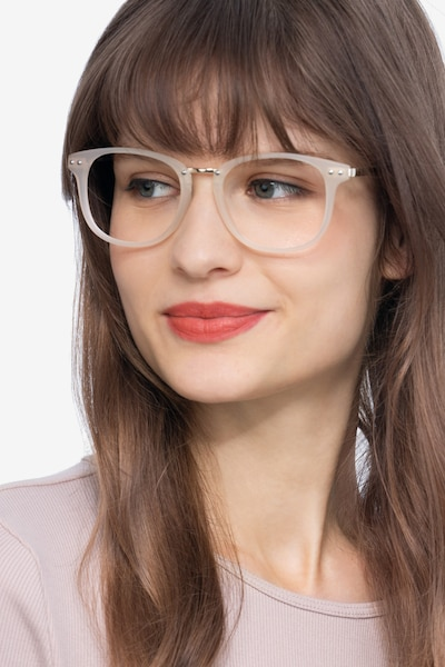 Cosmo White Metal Eyeglass Frames for Women from EyeBuyDirect, Front View