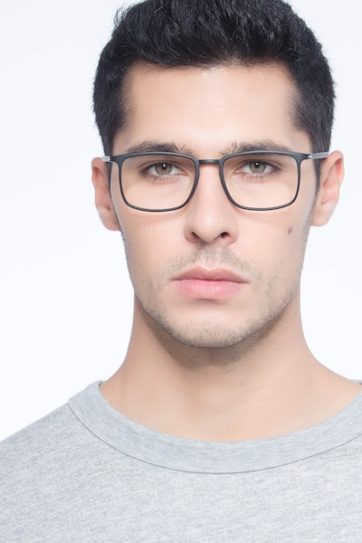 Structure Black Plastic Eyeglass Frames for Men from EyeBuyDirect, Front View