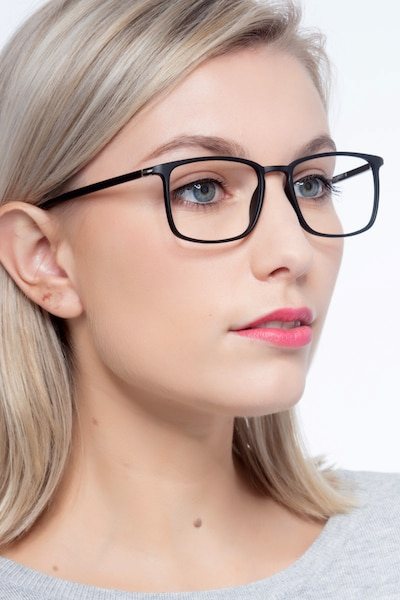 Structure Black Plastic Eyeglass Frames for Women from EyeBuyDirect, Front View