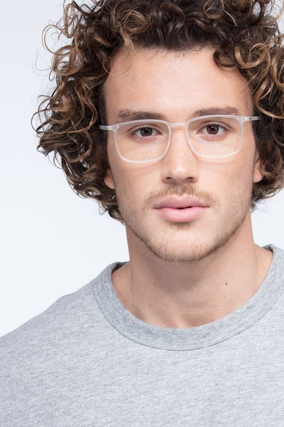Structure Frosted Clear Plastic Eyeglass Frames for Men from EyeBuyDirect, Front View