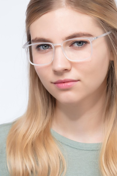 Structure Frosted Clear Plastic Eyeglass Frames for Women from EyeBuyDirect, Front View