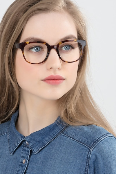 Flashback Honey Tortoise Plastic Eyeglass Frames for Women from EyeBuyDirect, Front View