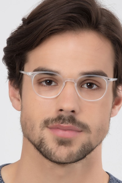 Hubris Matte Clear Plastic Eyeglass Frames for Men from EyeBuyDirect