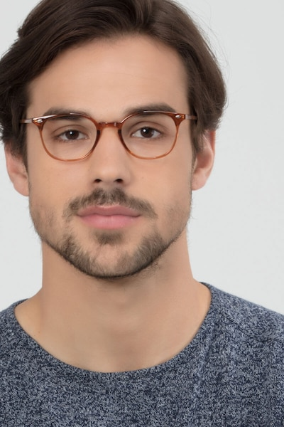 Hubris Clear Copper Plastic Eyeglass Frames for Men from EyeBuyDirect