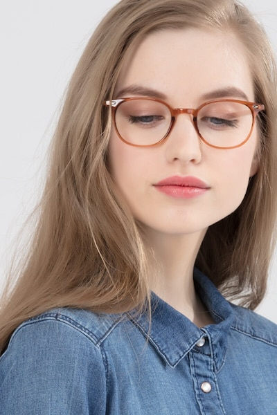 Hubris Clear Copper Plastic Eyeglass Frames for Women from EyeBuyDirect, Front View