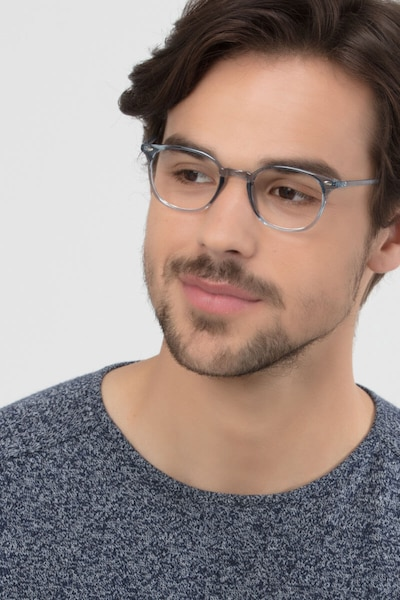Hubris Clear Blue Plastic Eyeglass Frames for Men from EyeBuyDirect, Front View