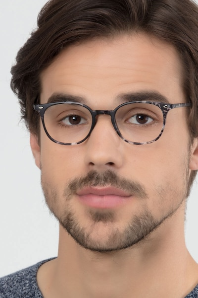 Hubris Black Floral Plastic Eyeglass Frames for Men from EyeBuyDirect