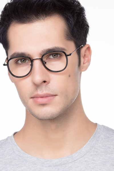 Vagabond Black Plastic Eyeglass Frames for Men from EyeBuyDirect, Front View