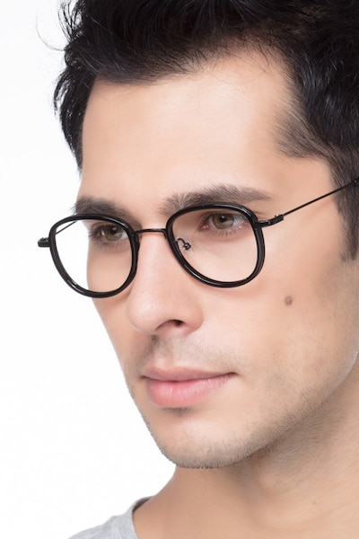 Vagabond Black Plastic Eyeglass Frames for Men from EyeBuyDirect