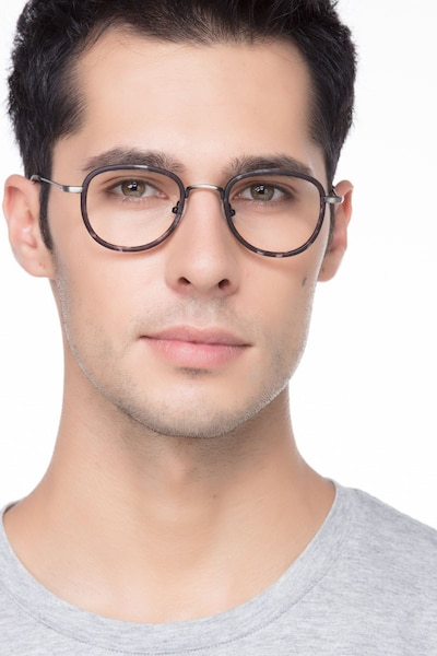 Vagabond Gray Floral Plastic Eyeglass Frames for Men from EyeBuyDirect, Front View