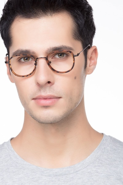 Vagabond Tortoise Plastic Eyeglass Frames for Men from EyeBuyDirect, Front View