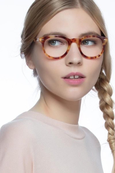 Andromeda Cinnamon Tortoise Acetate Eyeglass Frames for Women from EyeBuyDirect, Front View
