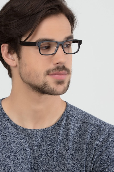 Aidan Black Acetate Eyeglass Frames for Men from EyeBuyDirect, Front View