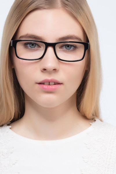 Aidan Black Acetate Eyeglass Frames for Women from EyeBuyDirect, Front View