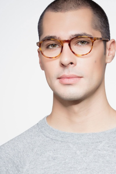 Split Tortoise Acetate Eyeglass Frames for Men from EyeBuyDirect, Front View