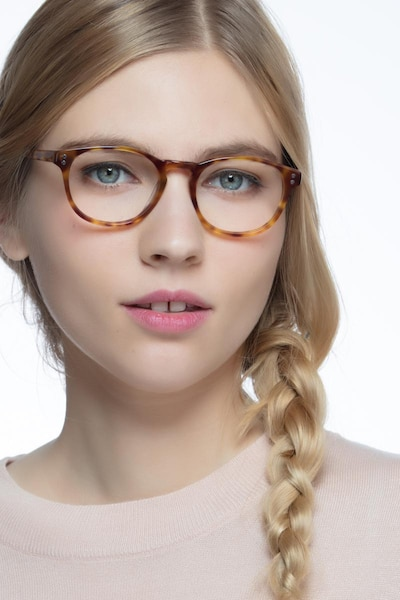 Split Tortoise Acetate Eyeglass Frames for Women from EyeBuyDirect, Front View